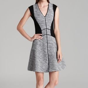 Rebecca Taylor Gray Knit Black Panel Flare Dress 2